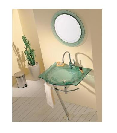 LADA CB-9 Art Glass Integrated Basin with Matching Round Mirror
