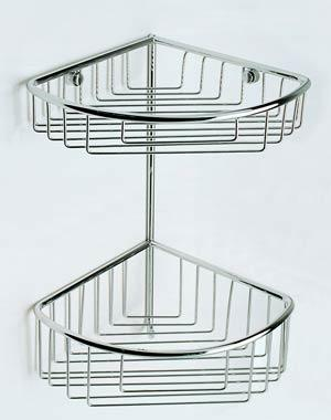 Capannoli N17-2 Corner Double Stainless Steel Shower Shelf with baskets