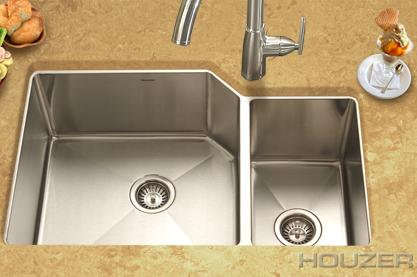 Houzer HDR 3015 Undermount Offset Double Bowl