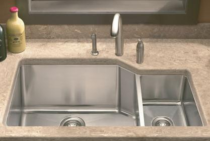 LADA LD3020R Undermount Offset Double Bowl Kitchen Sink