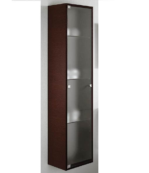 BMT Paris Collection Wall Hung Bathroom Storage Linen Cabinet In Wenge Wood  With Sanded Glass Door