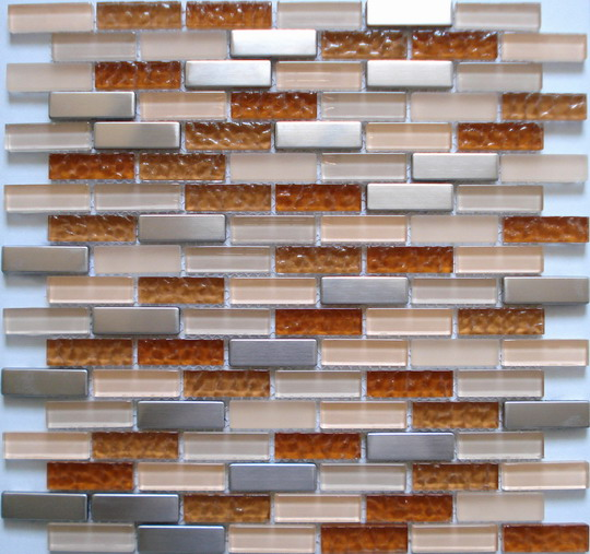 LADA SSBG02 Crystal Glass Stainless Steel Mixed Brick Style Series Mosaic Tiles