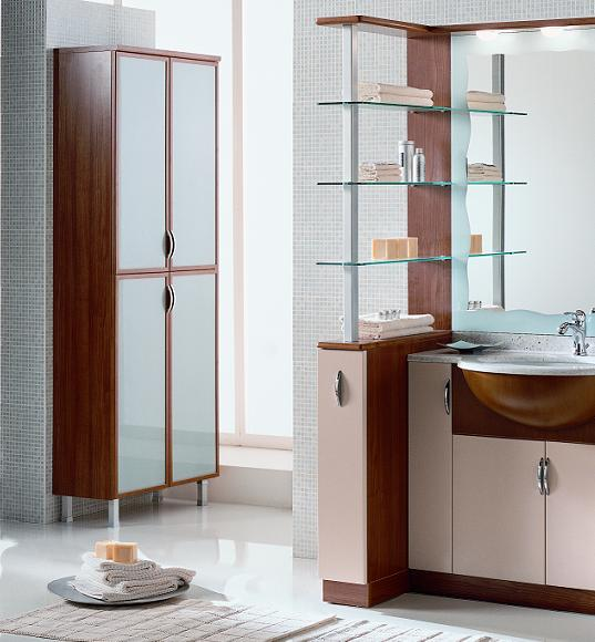 BMT Domina Collection Bathroom Storage Linen Cabinet in Cherry Wood