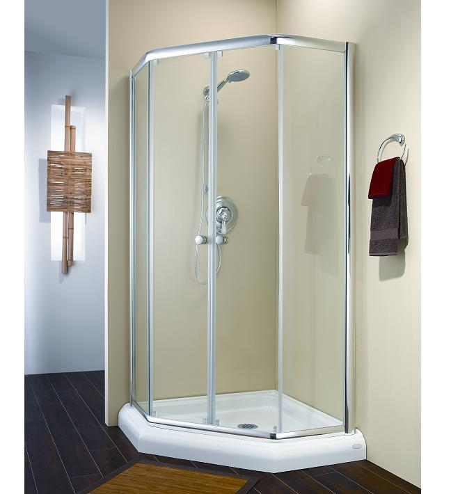 Fleurco Amalfi Neo-Angle Frameless Sliding Shower Doors Enclosure