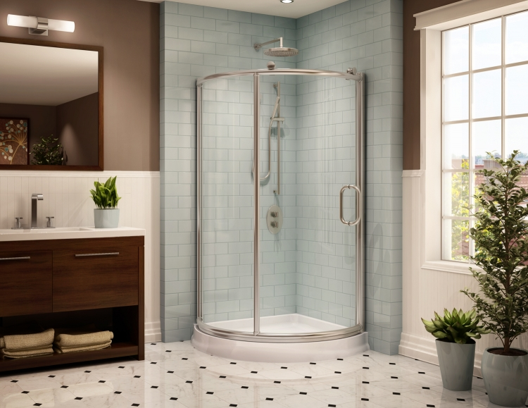 Fleurco Roma Arc 2 Corner shower enclosure with sliding door