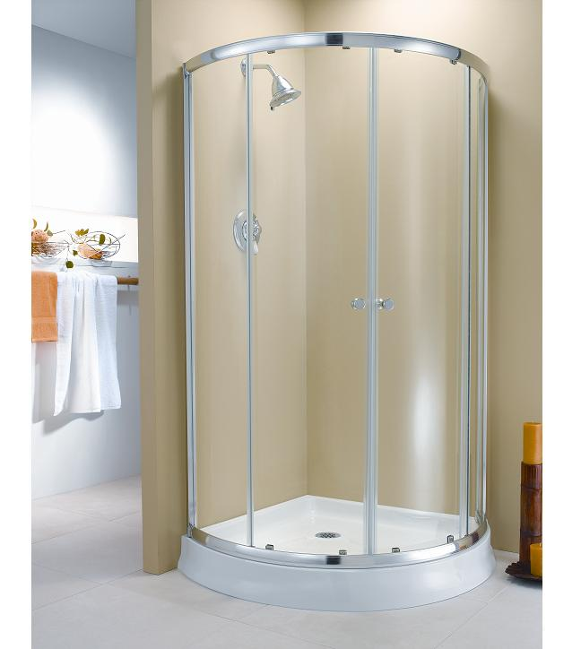 Fleurco Amalfi Arc 4 Frameless Curved Glass Sliding Shower Doors Enclosure