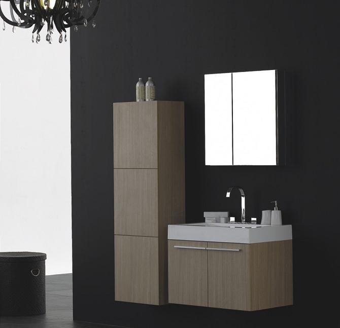 LADA Domino T730 Wall Hung Bathroom Vanity Set with Mirror Cabinet 29