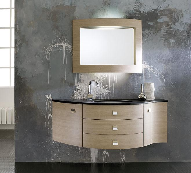 GB Latitudine 08 Wall Hung Bathroom Vanity With Integrated Light Inside  Mirror 55