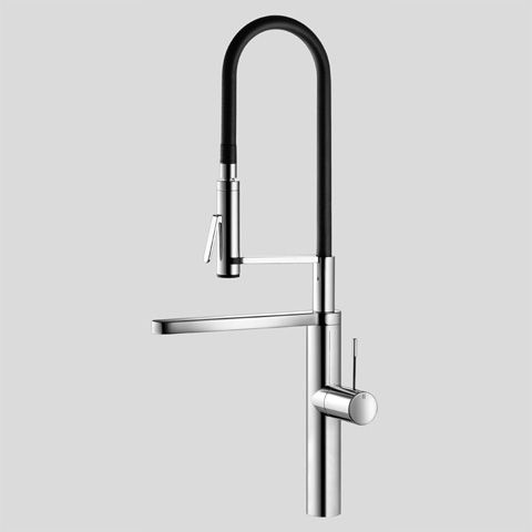 KWC ONO Highflex 10.151.423 Single-hole, single lever kitchen mixer with swivel spout and dual function pre-rinse spray