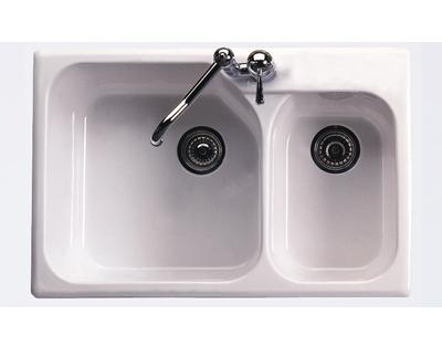 Rohl Allia 6317 Single-Hole Two Bowl Fireclay Kitchen Sink