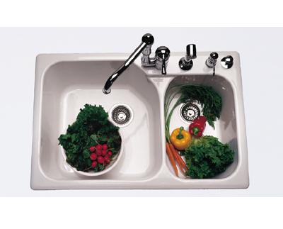 Rohl Allia 6327 Four-Hole Two Bowl Fireclay Kitchen Sink