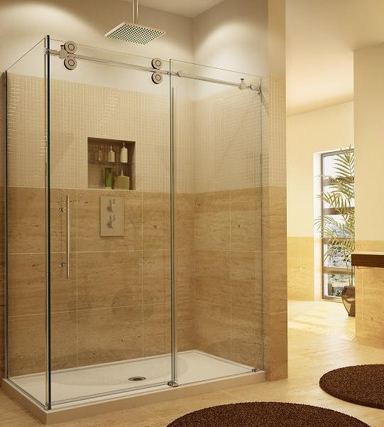Fleurco KTW26036-CRP Two Sided Symmetry Kinetik Hardware Systems Sliding Glass Shower Door