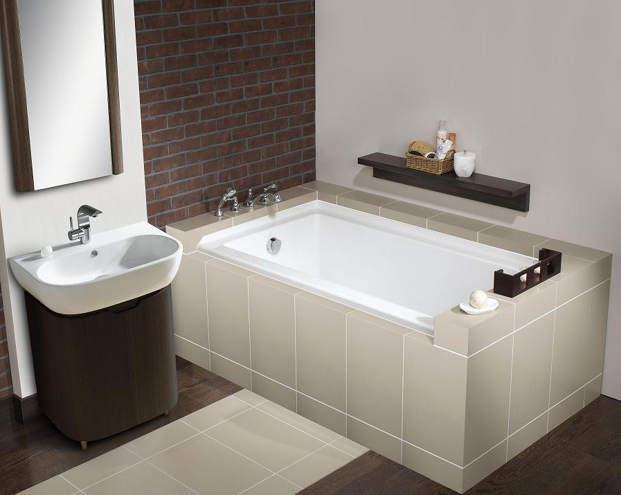 LADA Laguna LD-532 Soaking Tub Alcove Installation Rectangular Bathtub with integral tile flange