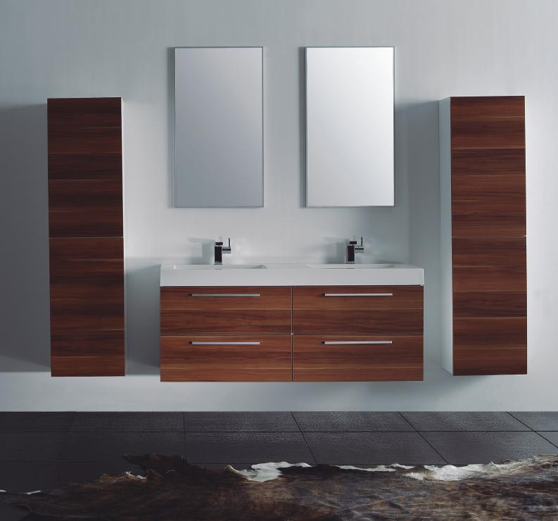 LADA Domino T1380 Compact Wall Hung Bathroom Double Sink Vanity Set 54