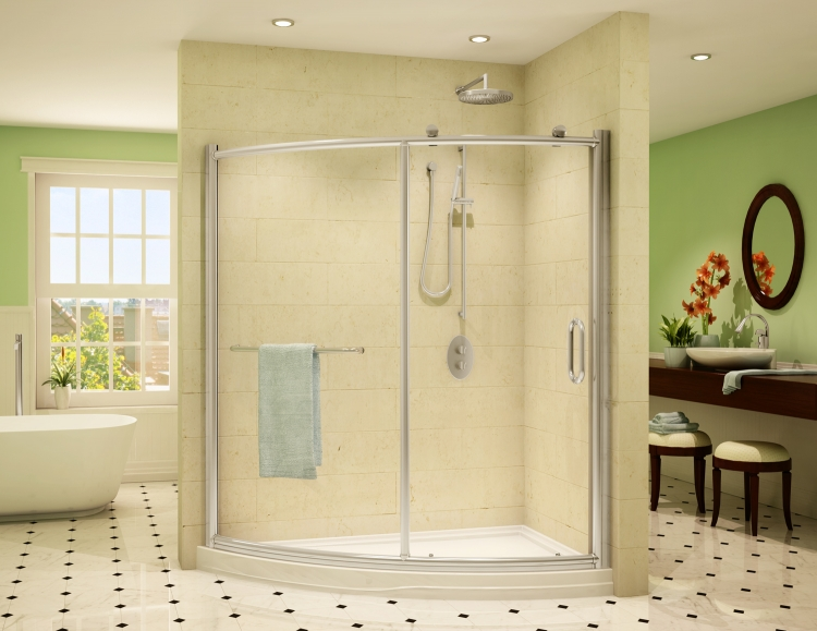 Fleurco Roma SLICE Curved Glass Panel and Door Shower Enclosure