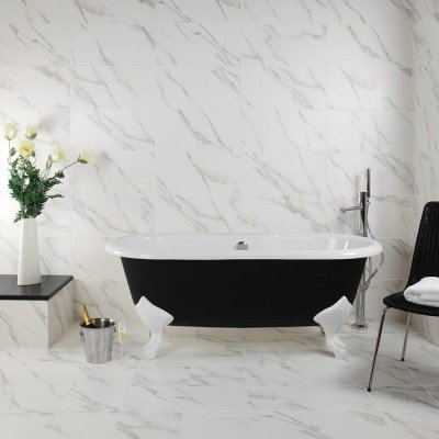 Lada Calacatta Polished Rectified Porcelain Wall And Floor Tile 12x12 12x24