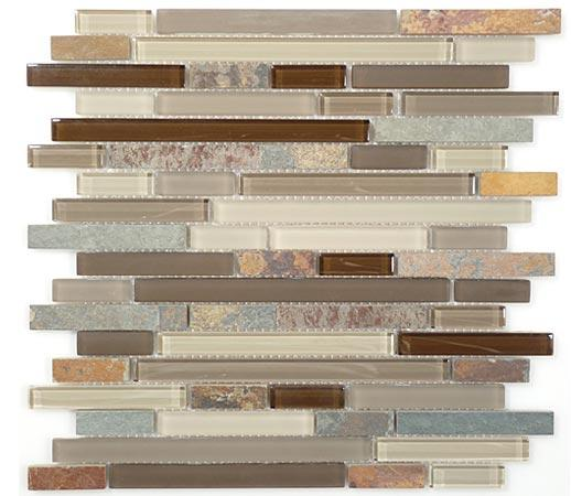 Mirage Glass & Slate Series Rustic Taupe GS02 Mosaic Tile