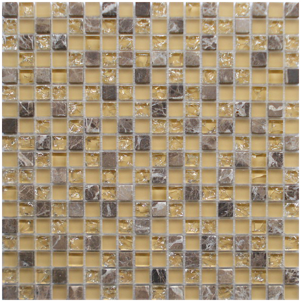 LADA GS69 Crackle Glass & Stone Mixed Series Mosaic Tile