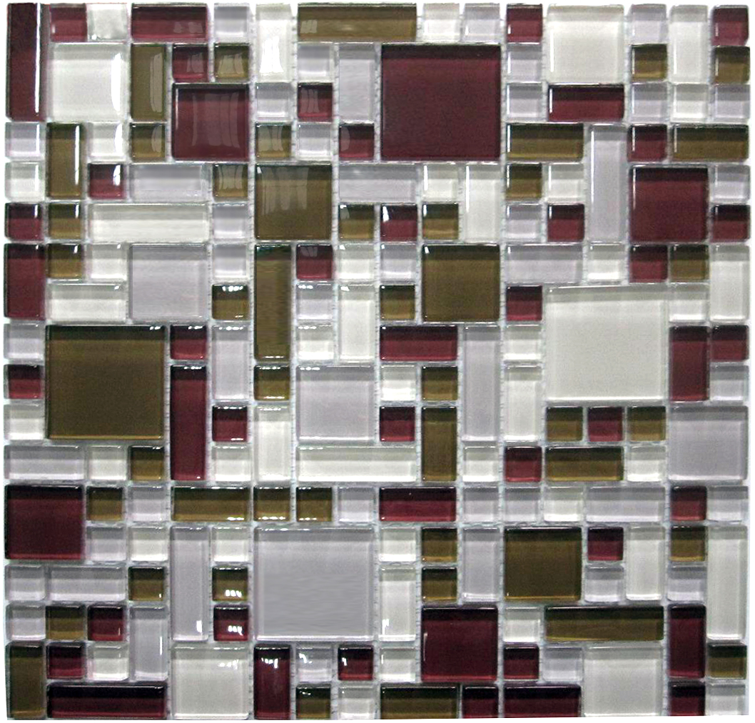 LADA GP01 Mixed Blend Multi Size Puzzle Series Glass Mosaic Tile