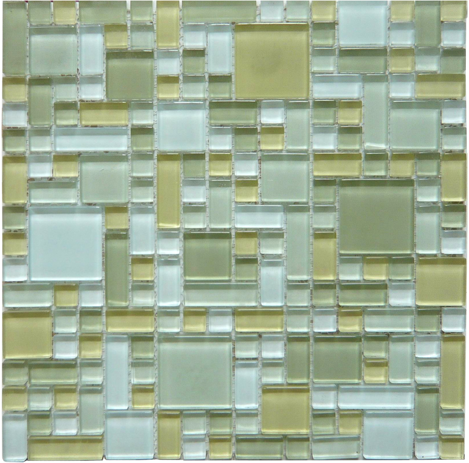 LADA GP02 Mixed Blend Multi Size Puzzle Series Glass Mosaic Tile