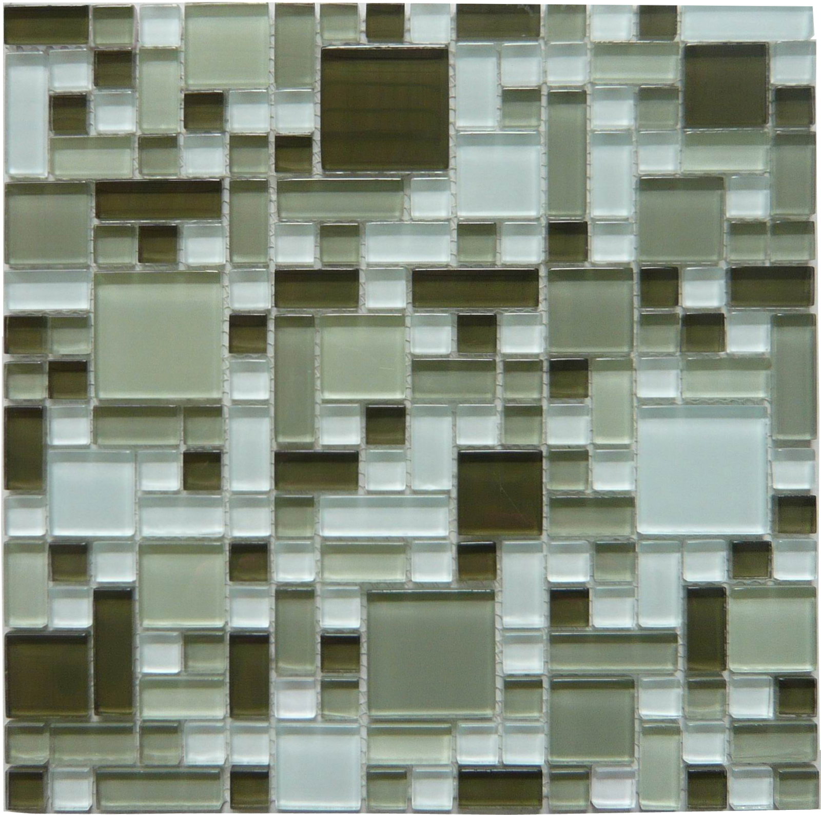 LADA GP04 Mixed Blend Multi Size Puzzle Series Glass Mosaic Tile