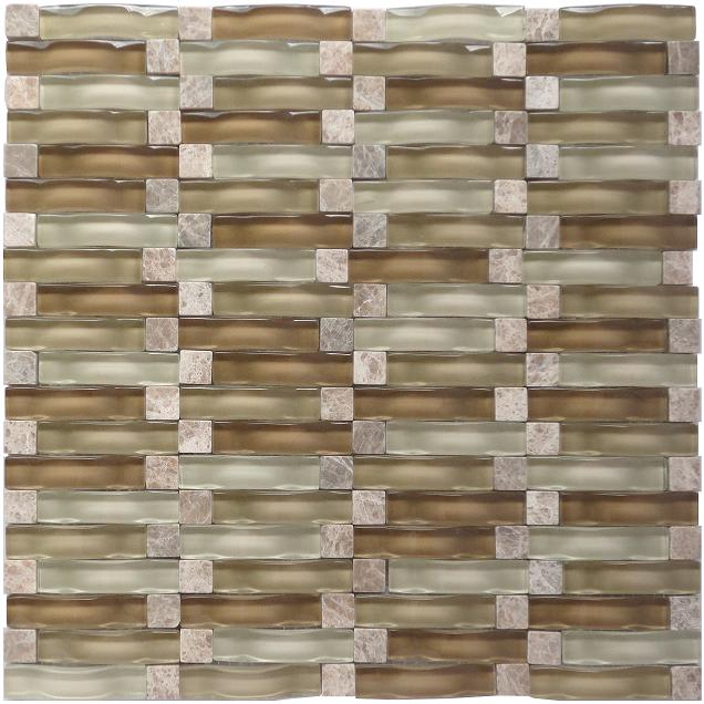 LADA RP01 Glass & Stone Blend Onda Series Mosaic Tile