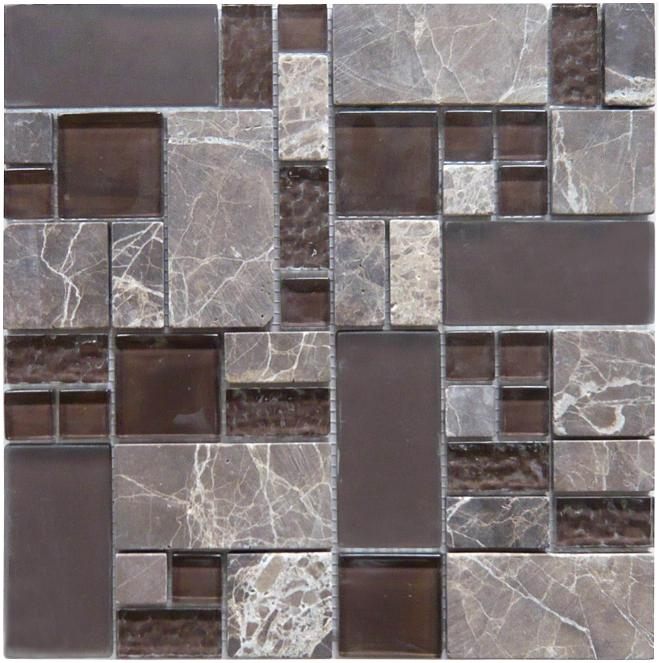LADA GQ02 Glass & Stone Blend Crescendo Series Mosaic Tile