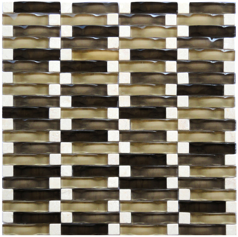LADA RP03 Glass & Stone Blend Onda Series Mosaic Tile
