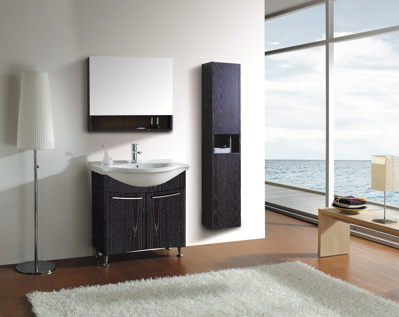 LADA London 80 Black Oak Bathroom Vanity Set 32