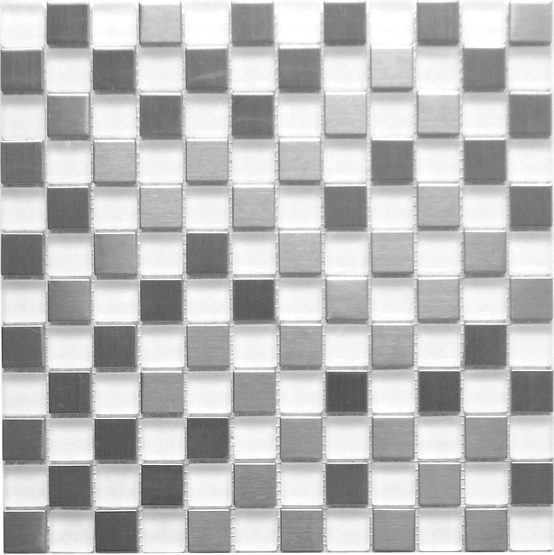 LADA GSS01 Arctic Sea Iceberg Crystal & Stainless Steel Blend Mosaic Tiles