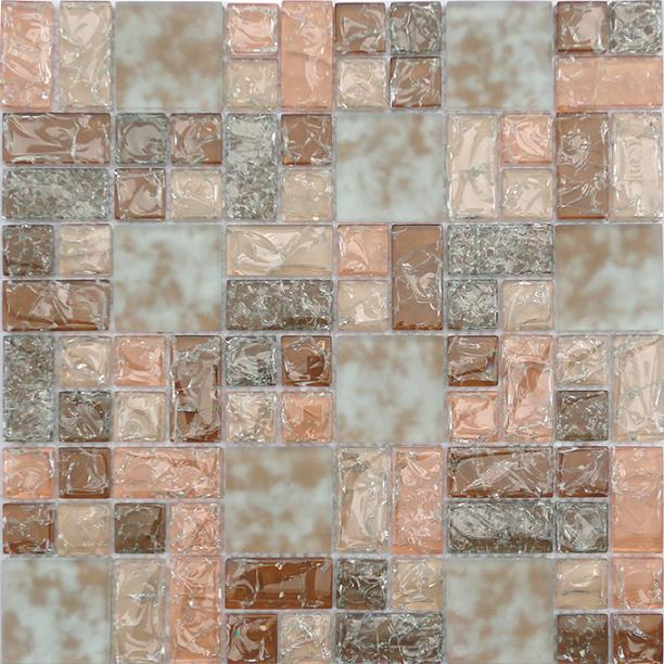 LADA GP08 Mixed Blend Multi Size Crackle Glass Series Mosaic Tile