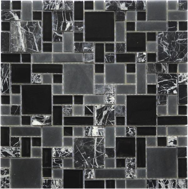 LADA GPS08 Mixed Blend Multi Size Glass & Stone Series Mosaic Tile