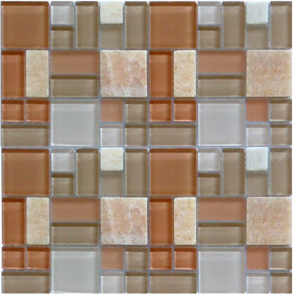 LADA GPS03 Mixed Blend Multi Size Glass & Stone Series Mosaic Tile