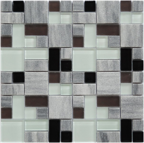 LADA GPS02 Mixed Blend Multi Size Glass & Stone Series Mosaic Tile
