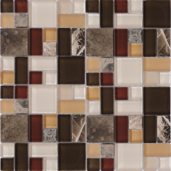 LADA GPS01 Mixed Blend Multi Size Glass & Stone Series Mosaic Tile