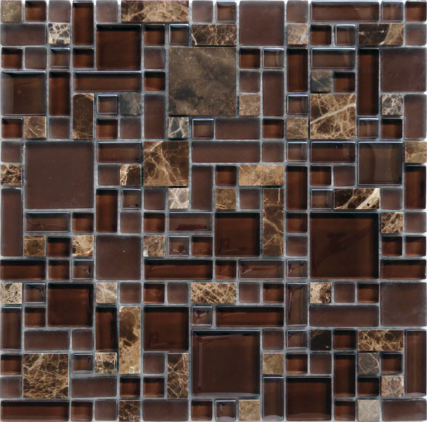 LADA GPS05 Mixed Blend Multi Size Glass & Stone Series Mosaic Tile