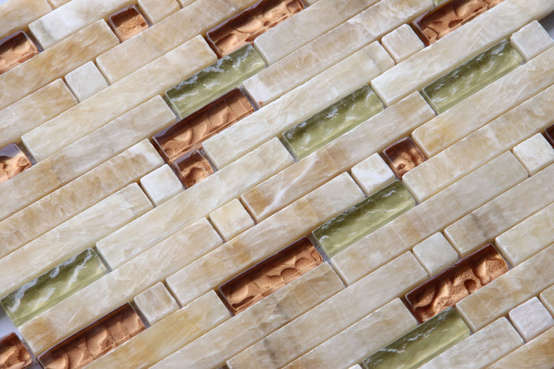 LADA Granda Series GD06 Glass & Honey Onyx Mosaic Tile