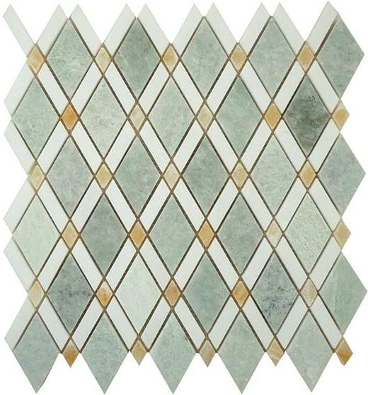 Mirage Glazzio Ds58 Diamond Series Ming Green Light Thos White Honey Onyx Mosaic Tile
