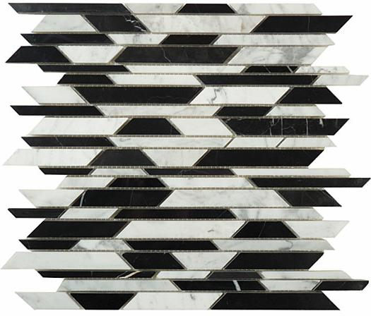 Mirage Glazzio BA805 Bamboo Series Carrara + Black Mosaic Tile
