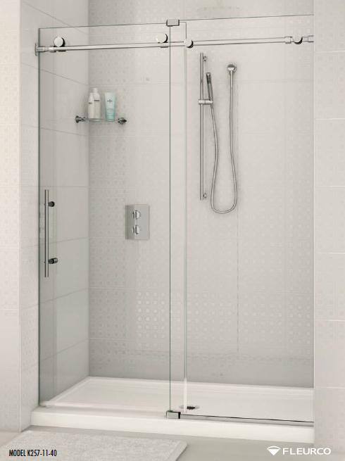 Fleurco Kinetik K2 Performance K257-11-40 In-line Sliding Frameless Shower Door