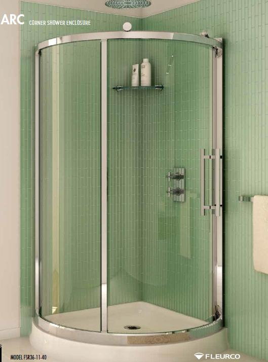 Fleurco Sorrento Arc FSR36-11-40 Corner Sliding Shower Door Enclosure
