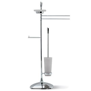 OML Golf L137S Floor Stand with Toilet Paper Roll Holder and Toilet Brush