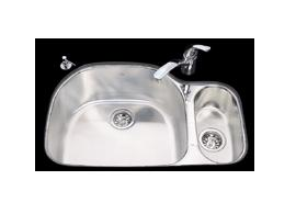 Kindred UC2132/90RK/E Undercounter SS Sink